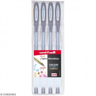 Pochette stylos roller gel Signo Métallisés - Ecriture moyenne 0,7 mm - Argenté - 4 pcs