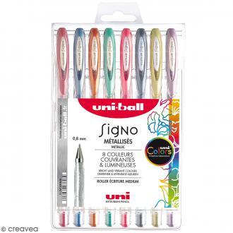 Pochette stylos roller gel Signo Métallisés - Ecriture large 1 mm - 8 coloris - 8 pcs