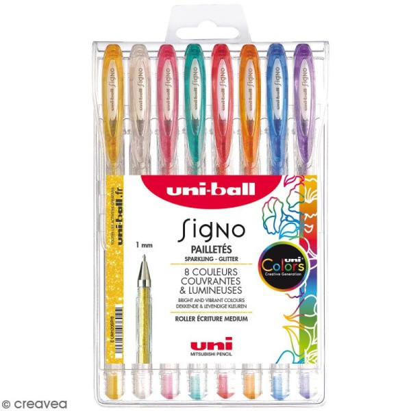 Pochette stylos roller gel Signo Pailletés - Ecriture large 1 mm - 8 coloris - 8 pcs - Photo n°1