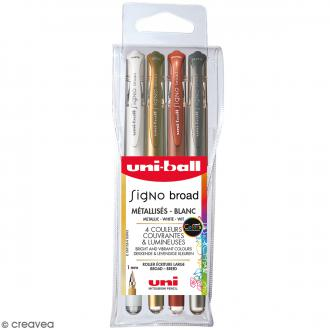 Pochette stylos roller gel Signo Métallisés - Ecriture large 1 mm - 4 coloris - 4 pcs