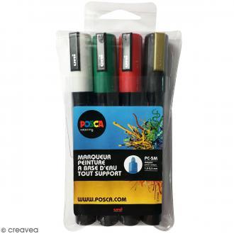 Set de marqueurs Posca pointe conique moyenne - 1,8 mm - Blanc, Vert foncé, Rouge, Or - 4 pcs