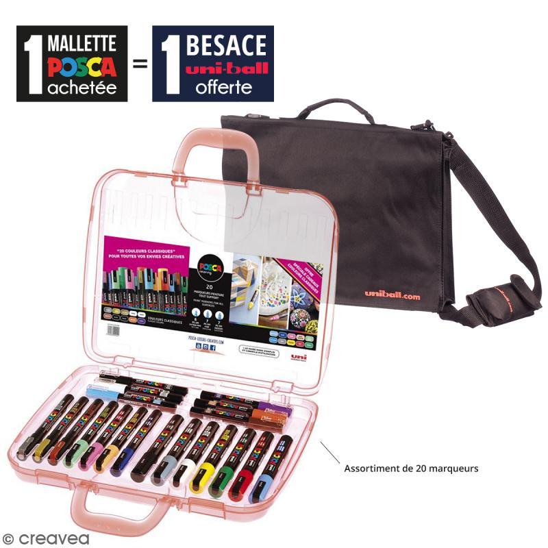 Offre Spéciale : Mallette de 20 marqueurs Posca Trendy Colors + Besace noire uniball - Photo n°1
