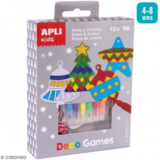Kit Deco Games Suspensions de Noël - Peindre et colorier - 12 formes à personnaliser