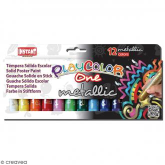 Gouache solide Playcolor en stick - Assortiment Metallic - 12 tubes