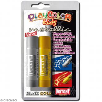 Gouache solide Playcolor en stick - Assortiment Metallic - 2 tubes