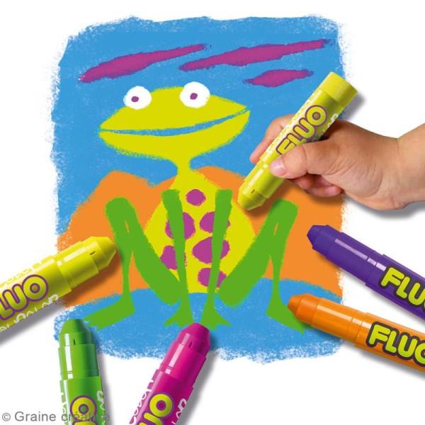 Gouache solide Playcolor en stick - Assortiment Fluo - 6 tubes - Photo n°2
