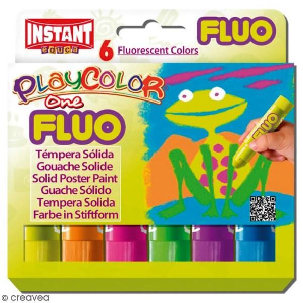 Gouache solide Playcolor en stick - Assortiment Fluo - 6 tubes - Photo n°1