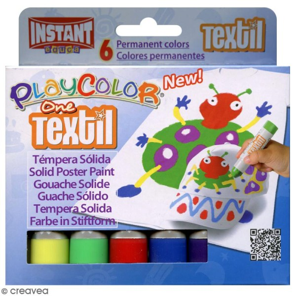 Gouache solide Playcolor en stick - Assortiment Textil - 6 tubes - Photo n°1