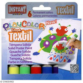 Gouache solide Playcolor en stick - Assortiment Textil - 6 tubes