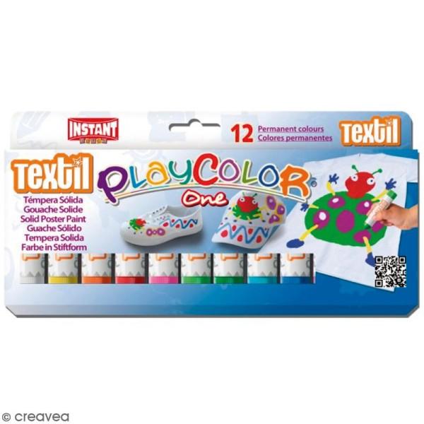 Gouache solide Playcolor en stick - Assortiment Textil - 12 tubes - Photo n°1