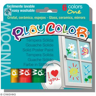 Gouache solide Playcolor en stick - Assortiment Window - 6 tubes
