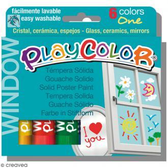 Gouache solide Playcolor en stick - Assortiment Window - 6 tubes