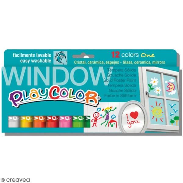 Gouache solide Playcolor en stick - Assortiment Window - 12 tubes - Photo n°1
