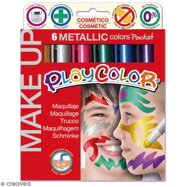 Sticks de maquillage PlayColor - Assortiment Metallic - 6 pcs - Photo n°1