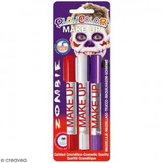 Sticks de maquillage PlayColor - Assortiment Zombie - 3 pcs