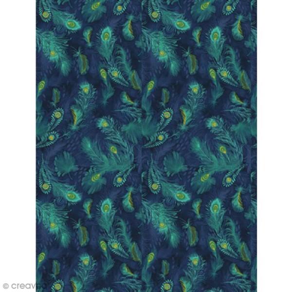 Décopatch Plumes vertes et bleues 722 - 1 feuille - Photo n°1