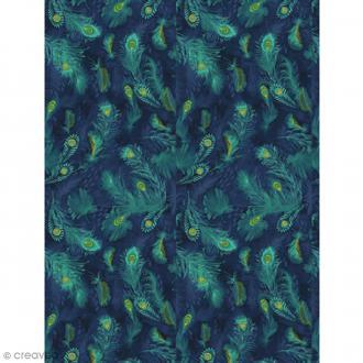 Décopatch Plumes vertes et bleues 722 - 1 feuille