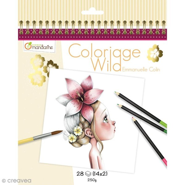 Carnet de coloriage collector 20 x 20 cm - Coloriage Wild - 28 visages à colorier - Photo n°1
