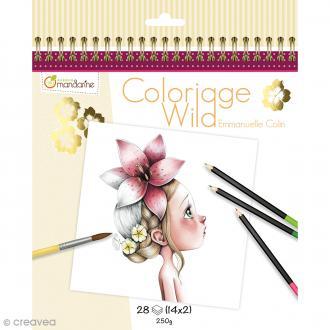Carnet de coloriage collector 20 x 20 cm - Coloriage Wild - 28 visages à colorier