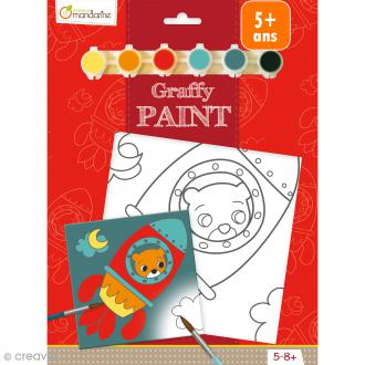 Kit peinture enfant Graffy Paint - Ours fusée - Toile de 20 x 20 cm et accessoires