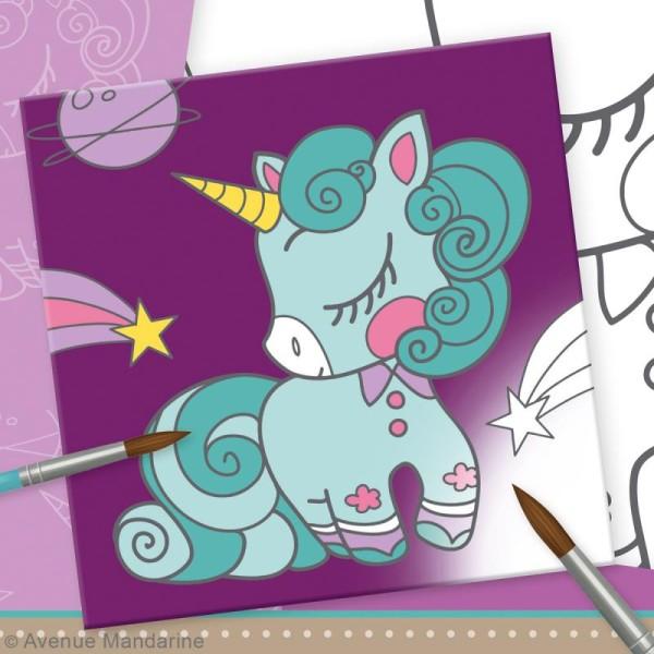 Kit peinture enfant Graffy Paint - Licorne - Toile de 20 x 20 cm et accessoires - Photo n°2