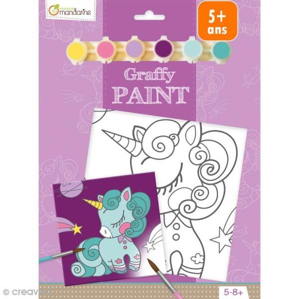 Kit peinture enfant Graffy Paint - Licorne - Toile de 20 x 20 cm et accessoires - Photo n°1