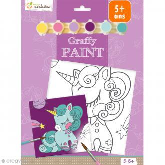 Kit peinture enfant Graffy Paint - Licorne - Toile de 20 x 20 cm et accessoires