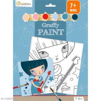Kit peinture enfant Graffy Paint - Fille Rockeuse - Toile de 20 x 20 cm et accessoires