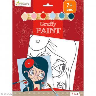Kit peinture enfant Graffy Paint - Fille Bohème - Toile de 20 x 20 cm et accessoires