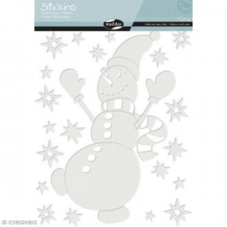 Stickers Fenêtre Stickino - Bonhomme de neige - 1 planche 30 x 38 cm