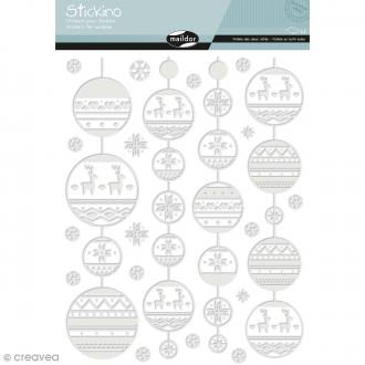 Stickers Fenêtre Stickino - Guirlandes de Noël - 1 planche 30 x 38 cm