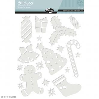Stickers Fenêtre Stickino - Noël enfantin - 1 planche 30 x 38 cm