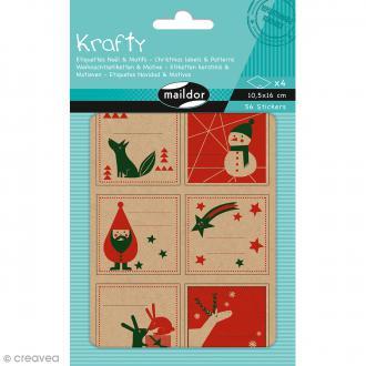 Stickers étiquettes Kraft - Noël rouge et vert - 56 pcs