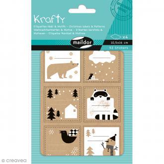 Stickers étiquettes Kraft - Noël noir et blanc - 52 pcs