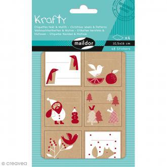 Stickers étiquettes Kraft - Noël rouge et blanc - 48 pcs