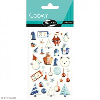 Stickers Fantaisie Cooky - Noël enfantin bleu - 33 pcs