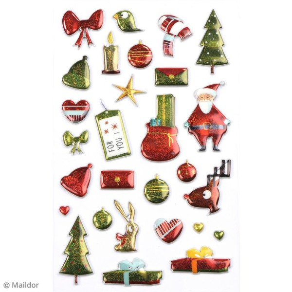 Stickers Fantaisie Cooky - Noël traditionnel vert - 28 pcs - Photo n°2