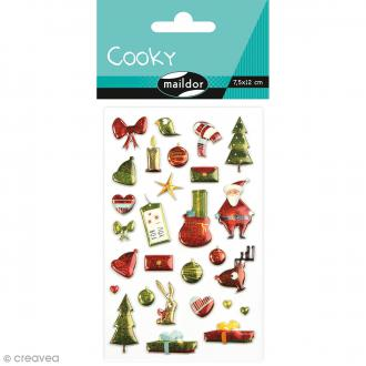 Stickers Fantaisie Cooky - Noël traditionnel vert - 28 pcs