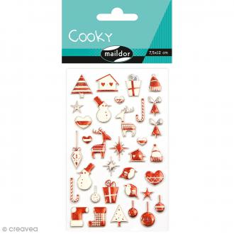 Stickers Fantaisie Cooky - Noël scandinave rouge - 34 pcs