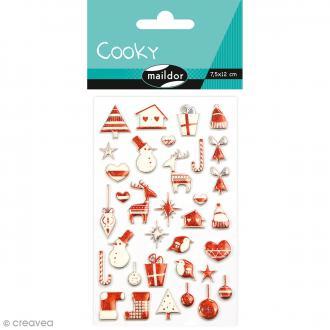 Stickers Fantaisie Cooky - Noël scandinave rouge - 34 pcs