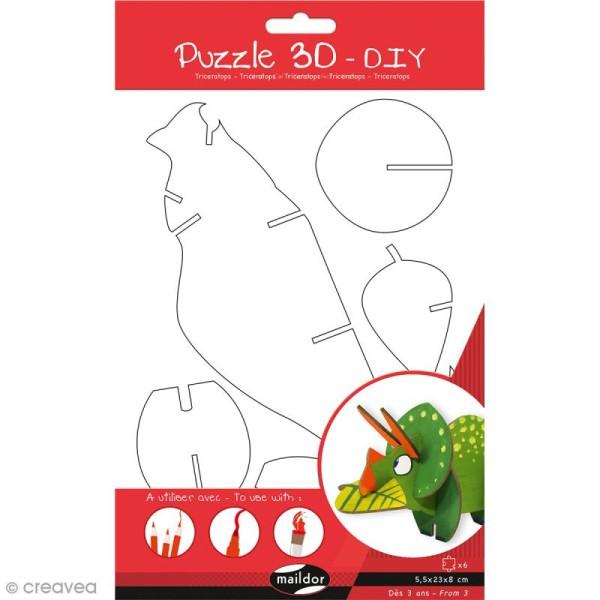 Puzzle 3D Dinosaure Tricératops - 6 pièces - Photo n°2