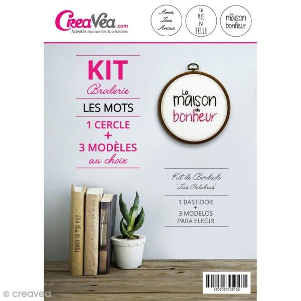 Kit broderie Creavea - Les mots - 1 cercle et 3 modèles au choix - Photo n°1
