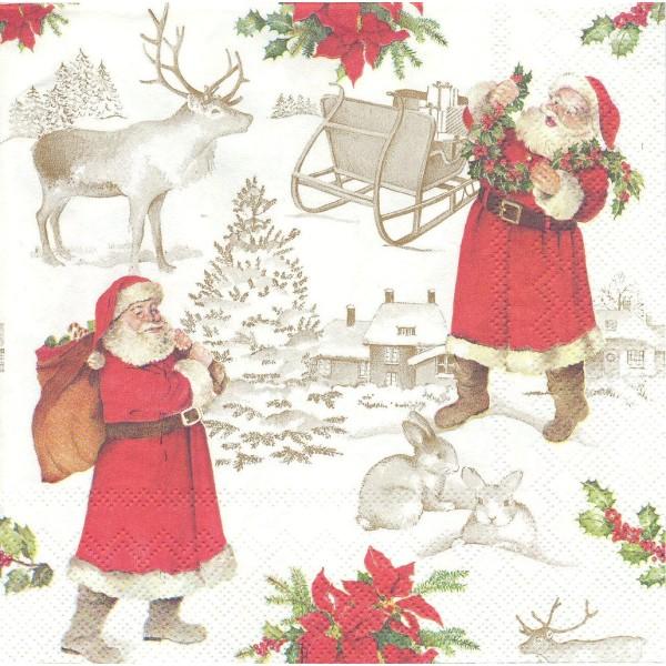 4 Serviettes en papier Père Noël Format Lunch Decoupage Decopatch L-529000 IHR - Photo n°1