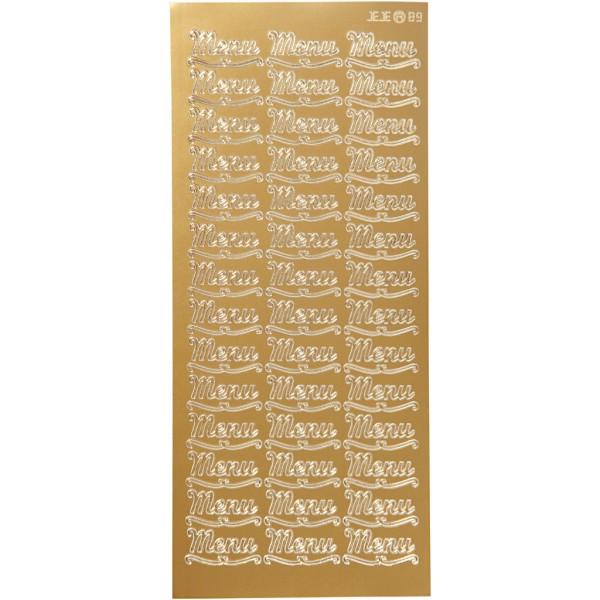 Stickers Peel Off - Doré - Motif Menu - 1 Planche de 10x23 cm - Photo n°1