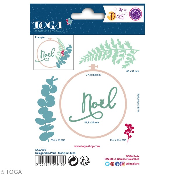 Dies Toga Cut It All - Motifs végétaux Noël -  1 à 8 cm - 5 pcs - Photo n°2