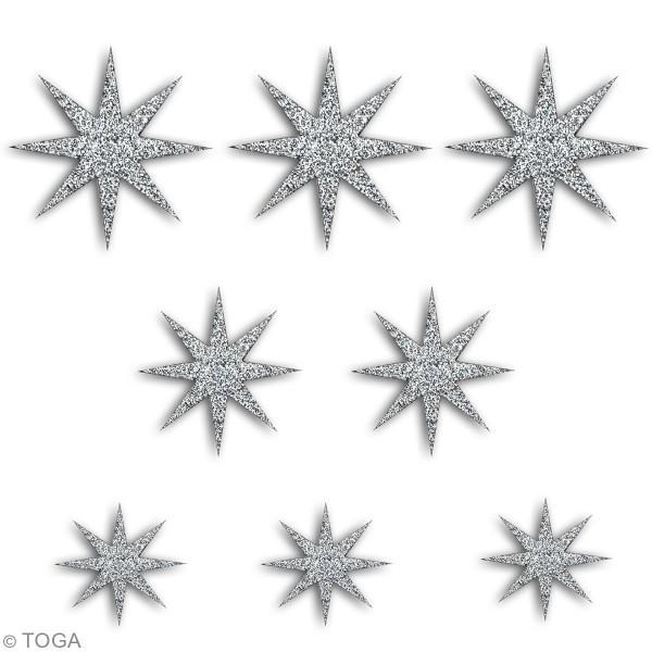 Die cut Toga - Étoiles argentées  - 7,5 x 7,5 cm - 8 pcs - Photo n°2