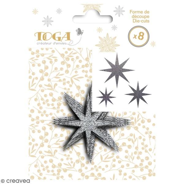 Die cut Toga - Étoiles argentées  - 7,5 x 7,5 cm - 8 pcs - Photo n°1