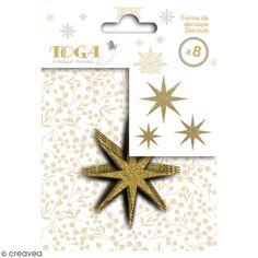 Die cut Toga - Étoiles dorées - 7,5 x 7,5 cm - 8 pcs