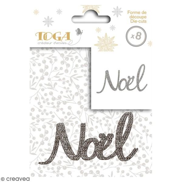 Die cut Toga - Noël argenté à paillettes - 8 x 4,5 cm - 8 pcs - Photo n°1