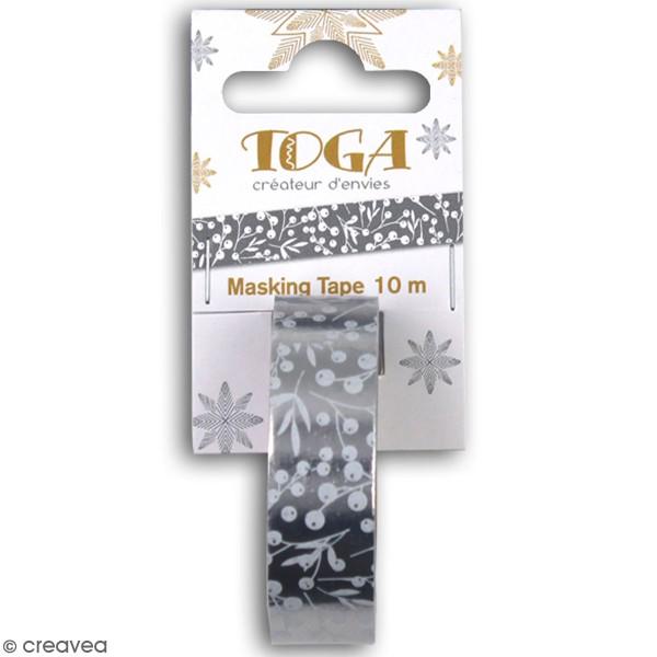Masking Tape - Baies blanches papier argenté - 10 m - 1 pce - Photo n°1